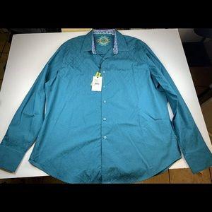 NWT Robert Graham Bayside Teal Long Shirt 2XL